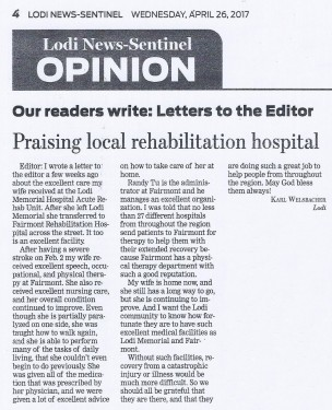 Fairmont Rehabilitation Hospital is Featured in the Lodi News Sentinel